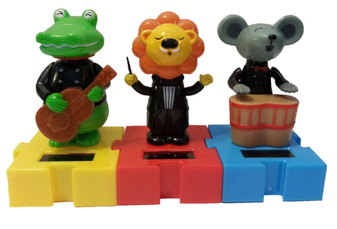 Solar Musician Animals Set of 3 Includes Connectable Dancing Lion, Crocodile & Mouse