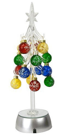 Silver Star Tree - Clear Acrylic - Light-Up w Ornaments