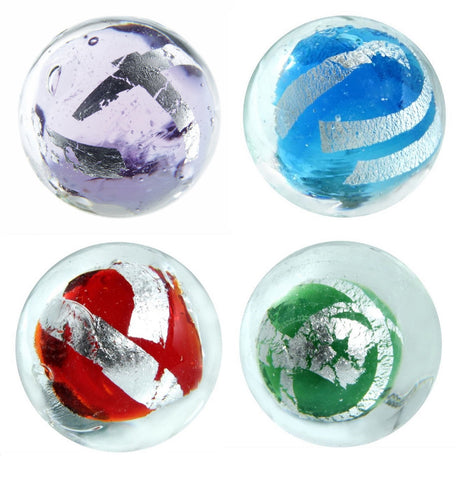 """Silver Tape"" 16mm Handmade Art Glass Marbles - Set of 4 w/Stands"
