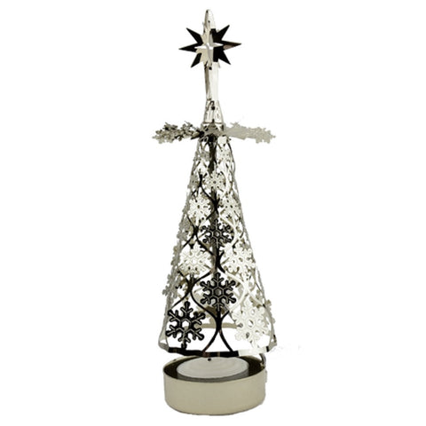 Rotating Tea Light Silver Angel Christmas Tree