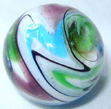 """Sonata"" 25mm Handmade Art Glass Marbles - Set of 3 w/Stands"