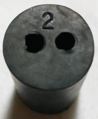 Rubber Stopper: Two-Hole: Size 2