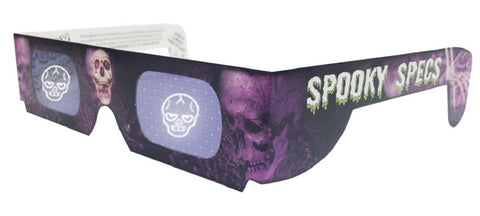 Spooky Specs - Skull Hologram Lenses in Paper Frame - Holospex Holographic 3D Glasses - Quantity Discounts