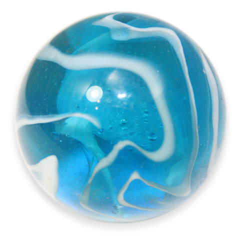 "Massive 1-5/8 Inch Glass ""Sky""/ ""Stingray"" Mega Marble (42mm Mammoth) with Stand"