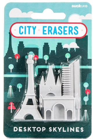Desktop Skylines: Paris City Rubber Pencil Erasers