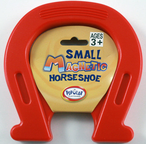 Plastic Encased  Magnetic Horseshoe 4.75 x 4.75 Inches - RED