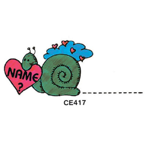 Name ?- Snail w/Heart Rubber Stamper: Teachers Aid