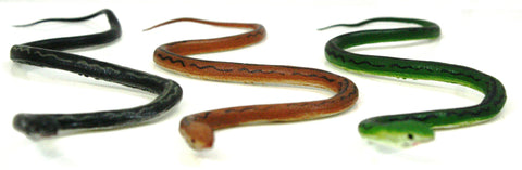 "12""  Realistic Rubber Snakes, Set of 3 - Black, Brown & Green"