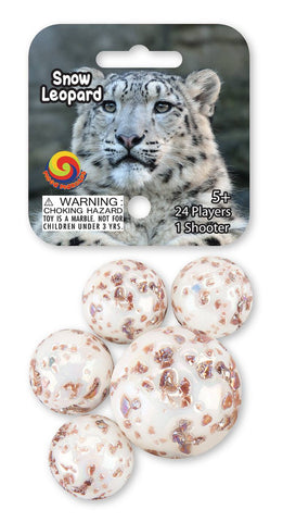 Snow Leopard Game Net Set 25 Piece Glass Mega Marbles