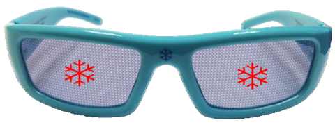 Snowflake Holographic Glasses - Holiday Specs - Hologram Lenses in Light Blue Plastic Frames
