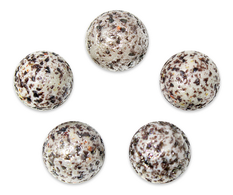 "1"" Snow Leopard Mega Marble 25mm Shooters - Pack of 5 w/Stands"