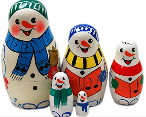 Snowman Matryoshka Russian Nesting Dolls - Set of 5