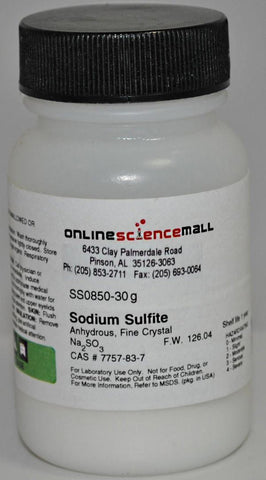 Sodium Sulfite, Anhydrous, 30g - Chemical Reagent