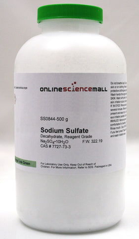 Sodium Sulfate Crytals, Decahydrate, 500g - Reagent Grade Chemical Reagent