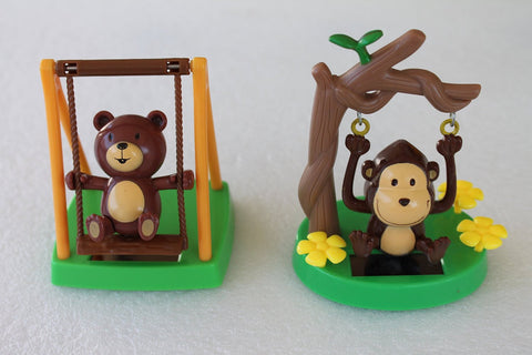 Solar Powered Swinging Bear And Monkey Figure - One each
