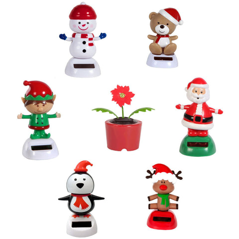 Solar Powered Dancing Christmas Set of 7 Figures Santa Snowman etc