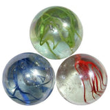 "Enormous Glass ""Lustered Spaghetti"" Marble - 50mm - Colors Vary"