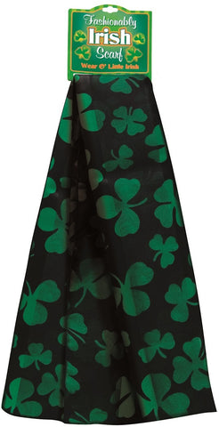 Irish Shamrock Scarf in Black & Green - 60L x 8.5W Inches
