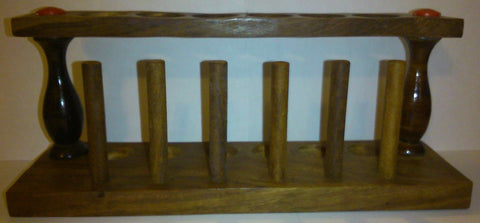 6 Place Wooden Test Tube Rack-25mm Openings-stained