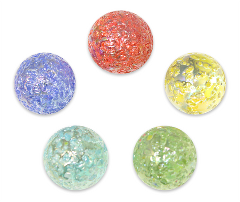 "1"" Star Dust Mega Marble 25mm Shooters - Pack of 5 w/Stands (Assorted Colors)"