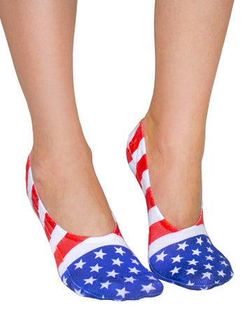 Stars and Stripes No-Show Liner Socks OSFM by Living Royal
