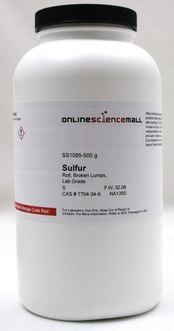 Sulfur Roll, Broken Lumps, 500g - Lab Grade Chemical Reagent