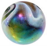 "Giant Iridescent Glass ""Supernova"" Marble - 35mm - by House of Marbles w/Stand"