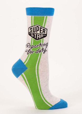 Superstar Reporting for Duty Women's Crew Socks by Blue Q