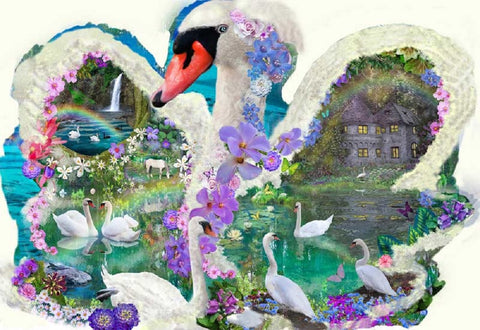 Swan Dreams Bird Shaped Jigsaw Puzzle 1000 Piece