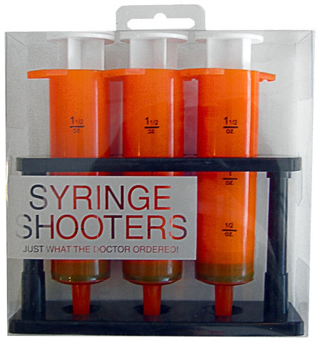 Orange Syringe Shooters - 3 Syringe Shaped Shot Glasses