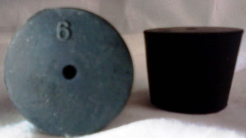Rubber Stoppers: One-Hole: Per Pound: Size 6: (~18 Per LB.)