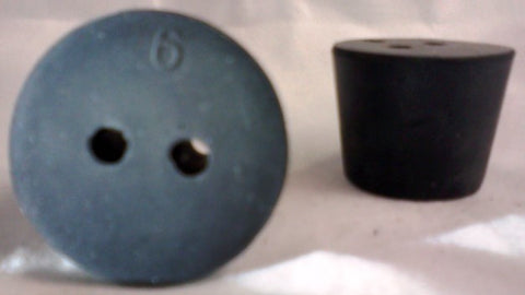 Rubber Stopper: Two-Hole: Size 6