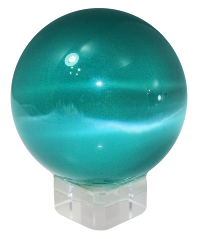 Teal 50mm Cat's Eye Orb Gemstone Large Crystal Ball w Glass Stand
