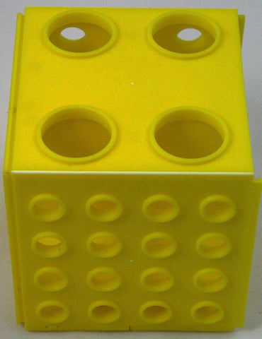 Cube Test Tube Rack - Four Sizes of Holes - Yellow Plastic