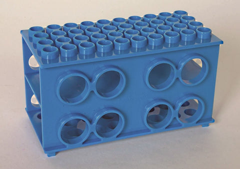 Cube Test Tube Rack, Blue Plastic Holds Four Sizes of Tubes