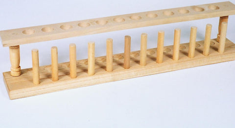 Student Grade 12 Place Wooden Test Tube Rack w/Drying Pins - Irregular - Reduced Price