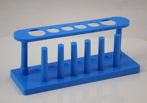 6 Place Blue Plastic Test Tube Rack - 2 Large 4 Small