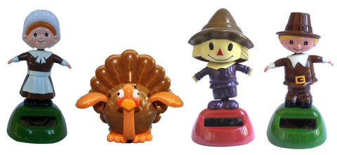Solar Powered Dancing Fall Thanksgiving Set of 4