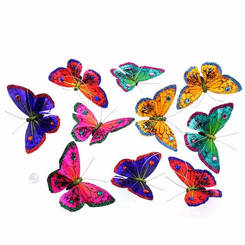 Glitter Hand Painted Multi Colored Butterfly Garland - Medium