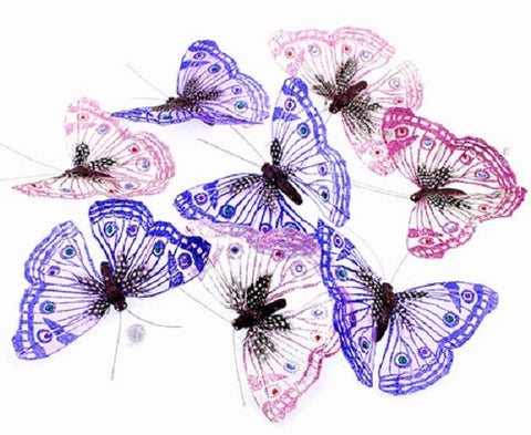 Big Glitter Butterfly Garland - Pink & Blue w Jewels