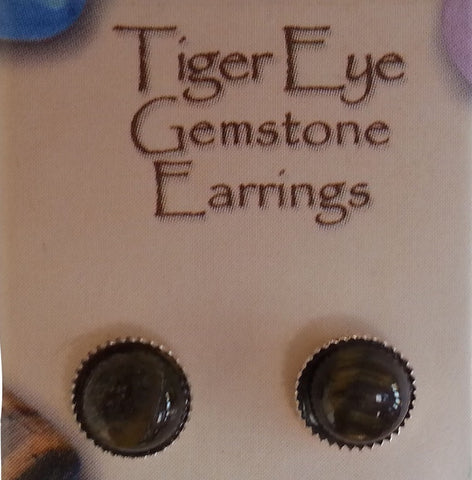 Natural Gemstone Tiger Eye Stud Earrings