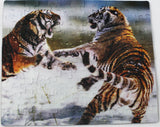 3D Lenticular Puzzle From Steve Bloom Images - Siberian Tigers Fighting (104 Pieces)