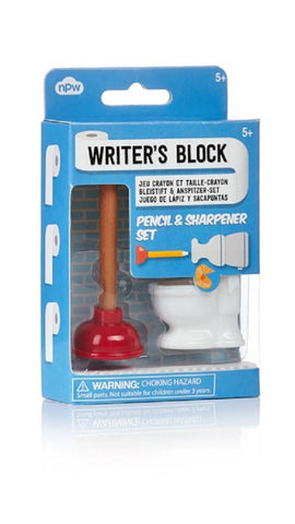 Writer's Block Toilet and Plunger Pencil & Sharpener Set