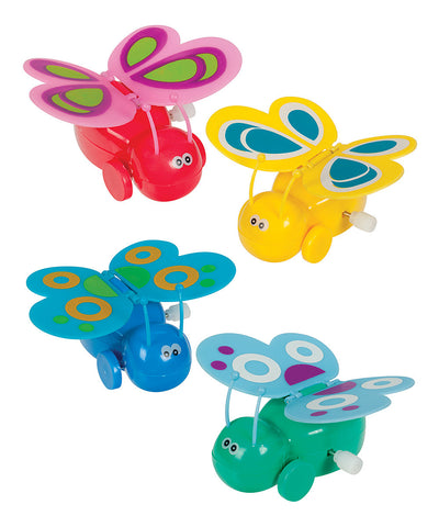 Rollin', Flappin' Wind-Up Butterfly Toys - Pack of 4