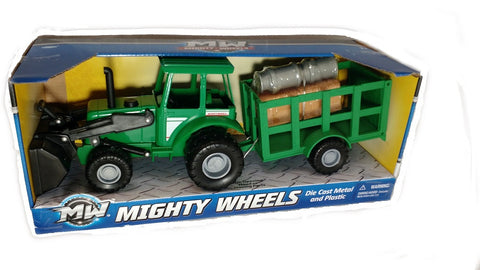 "Mighty Wheels  7"" Farm Tractor Trailer Vehicle  w/ Milk Churns & Hay Bales"