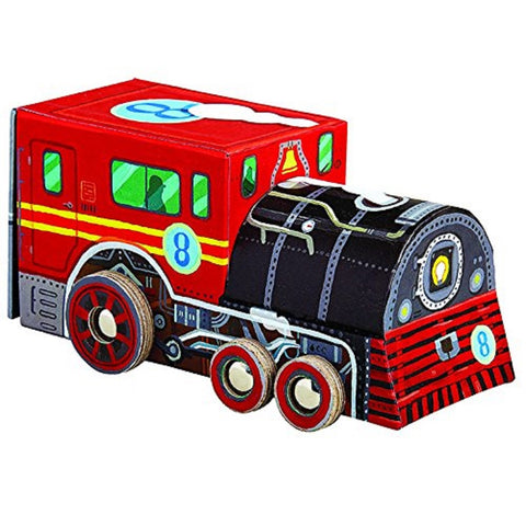 Locomotive Train 48 Piece Jigsaw Puzzle & Rolling Vehicle Storage Box