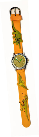 The Kids Watch Company Dinosaur Watch Brown Band - T-Rex, Pterodactyl & Triceratops