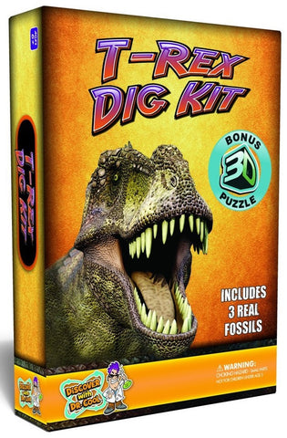 Tyrannosaurus Rex Dig Kit w/Real Dinosaur Fossils & 3D Puzzle, by Dr Cool