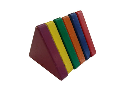 Painted Ceramic Triangle Shaped Magnets - Pack of 6 Assorted Colors