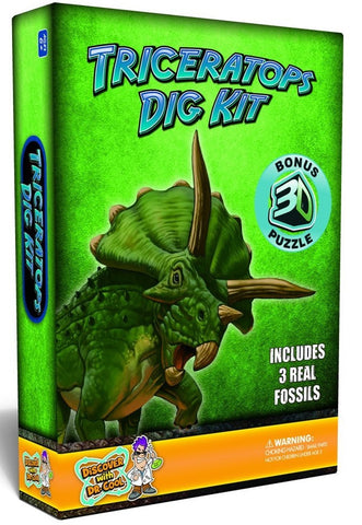 Triceratops Dig Kit w/Real Dinosaur Fossils & 3D Puzzle, by Dr Cool